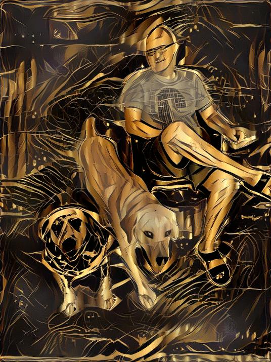 dalmatian labrador man art