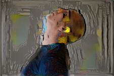 man looking up art