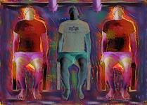three men sitting art